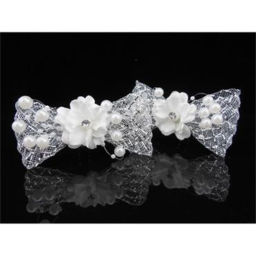 Cloth Flower with Pearls Bow hair pin