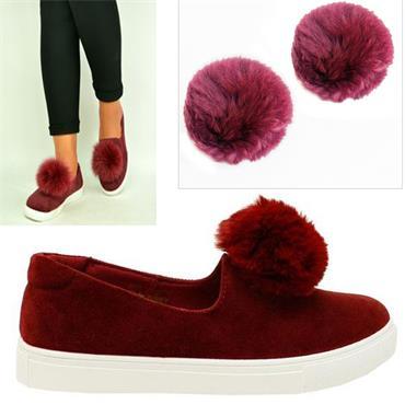 Furla Pom Pom Shoe Clip Burgandy