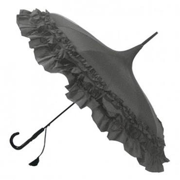 Classic Frilled Pagoda Umbrella Grey - Shipping to Ireland Only