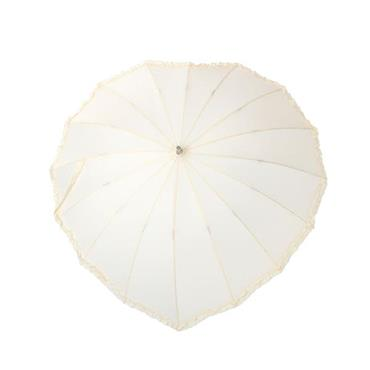 Cream Frilly Heart Umbrella - Shipping to Ireland Only