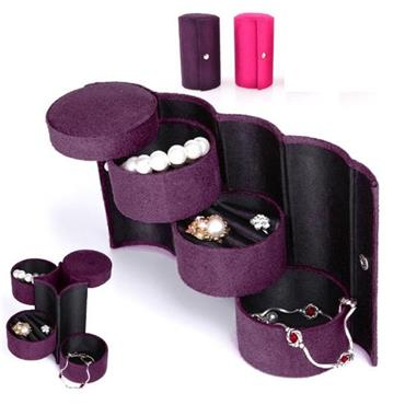 Purple Cylinder Jewellery Storage and Travel Case