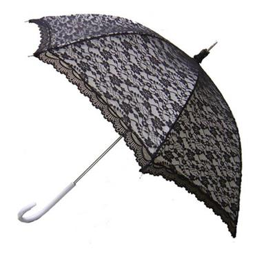 Modern Black & White Victorian Lace Umbrella - Shipping to Ireland Only