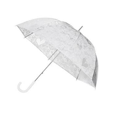 Clear Dome Floral Lace Print Umbrella - Shipping to Ireland Only