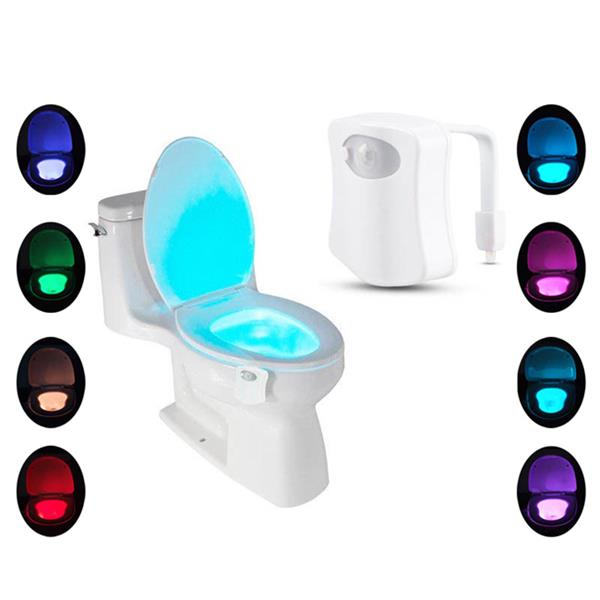 Toilet Bowl Lighting Seat Lamp For Bathroom Washroom Pir Motion Activated 8 Color Changing Battery Operated