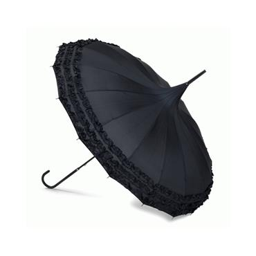 Liza Black Frilled Pagoda Umbrella - Shipping To Ireland Only