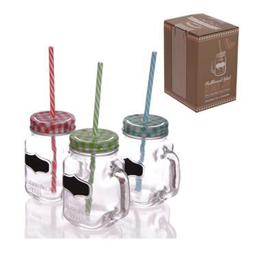 Chalkboard Mason Jam Jar Mug With Straw
