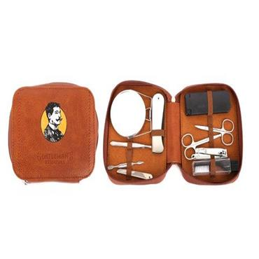 Gents 10 Piece Grooming Kit In Faux Leather Case