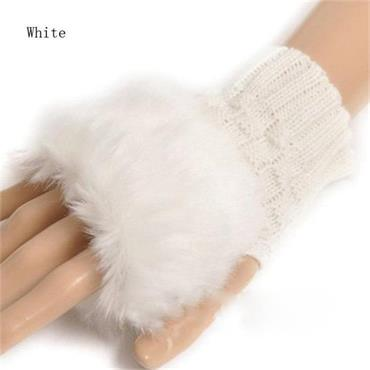 Faux Rabbit Fur Mittens-White