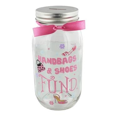 Handbags & Shoes Fund Glass Jar Moneybank