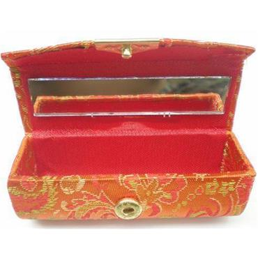 Silk Brocade Embroidered Lipstick Case with Mirror