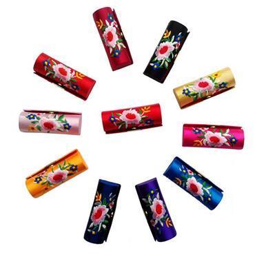 Silk Brocade Embroidered Lipstick Case with Mirror