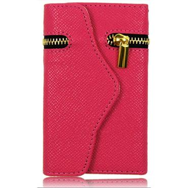 Leather Zipper Wallet Mobile Phone Case-PINK