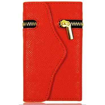 Leather Zipper Wallet Mobile Phone Case-RED