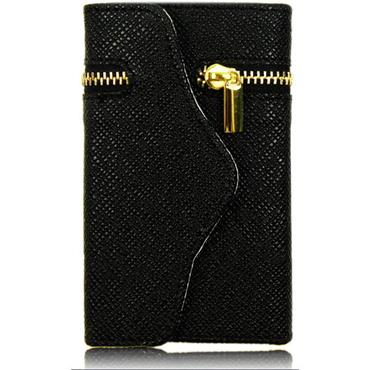 Leather Zipper Wallet Mobile Phone Case-BLACK