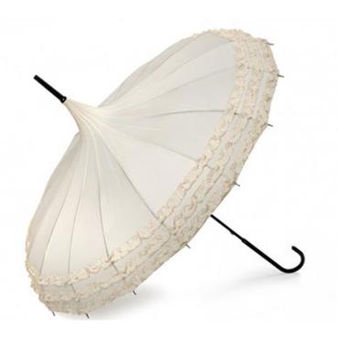Pheobe Frilled Ivory Pagoda Umbrella - Shipping to Ireland Only