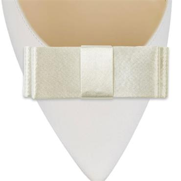 Double Layer Satin Ivory Bow Shoe Clips