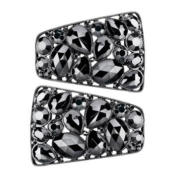 Black Crystal Shoe Clips