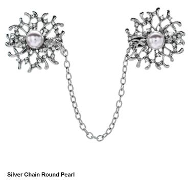 Sweater Chain Round Pearl Crystal