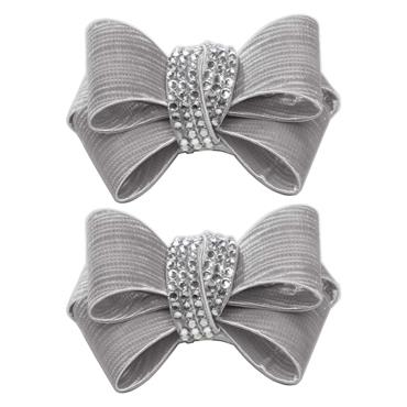 Textured Grey Bow Crystal Centre shoe clip