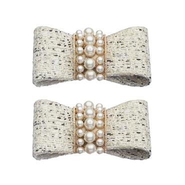 White Tweed Pearl Shoe Clips