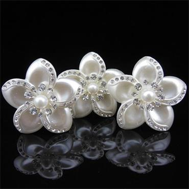 White Vintage Flower Bridal Hair Pin
