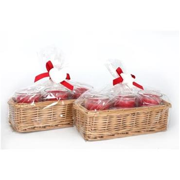 Cinnamon Scented Candle Gift Set in Wicker Basket