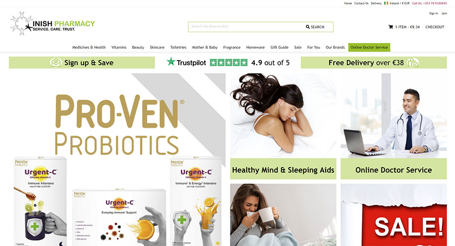 Inish Pharmacy website screen