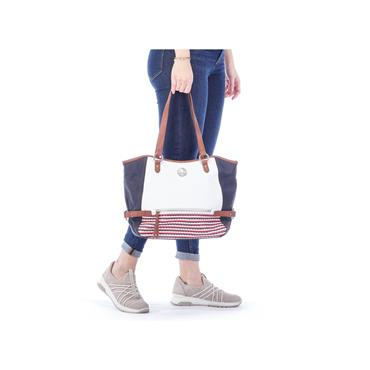 RIEKER H1066 HANDBAG - NAVY/RED