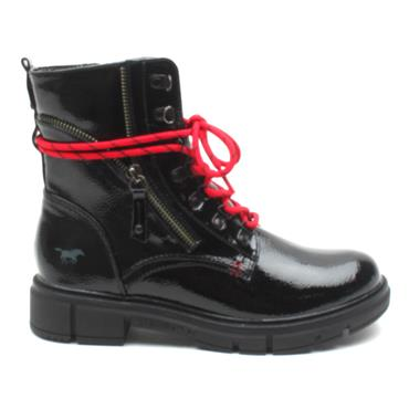 MUSTANG 1333505 LACED BOOT - BLACK PATENT