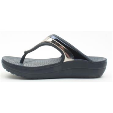 CROCS 205357 WEDGE FLIP - NAVY