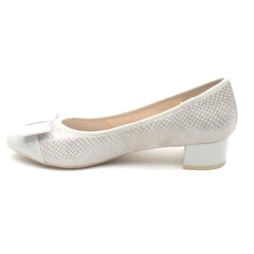 CAPRICE 22307 LOW HEEL BOW SHOE - LIGHT GREY