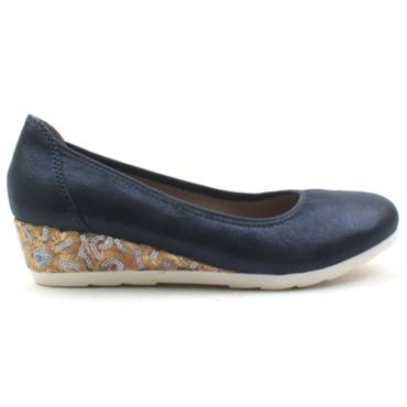 JANA WEDGE POMP 22363 - NAVY MULTI