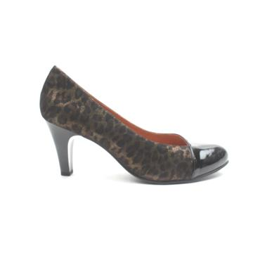 CAPRICE 22400 DRESS COURT  SHOE - BLACK/LEOPARD