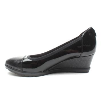 TAMARIS 22472 WEDGE SHOE - BLACK PATENT