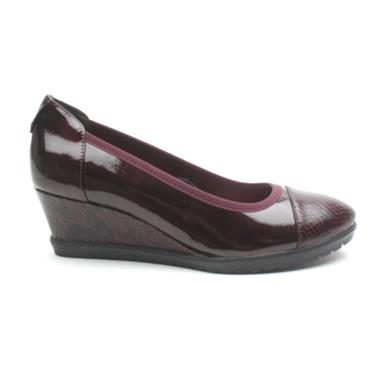 TAMARIS 22472 WEDGE SHOE - BURGUNDY PATENT