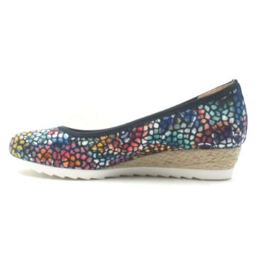 GABOR 22641 WEDGE SHOE - NAVY FLORAL