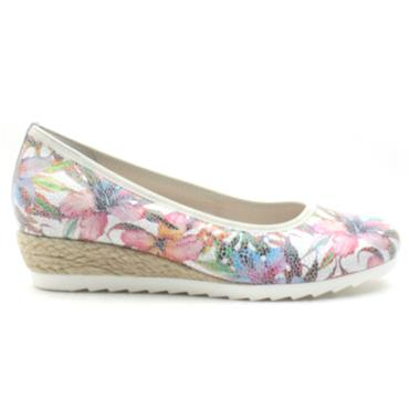 GABOR 22641 WEDGE SHOE - WHITE FLORAL