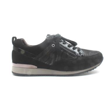 CAPRICE 23600 LACED CASUAL SHOE - BLACK/ZEBRA