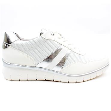 TAMARIS 23792 LACED SHOE - WHITE SILVER