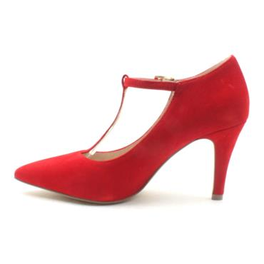 CAPRICE 24400 T BAR SHOE - RED SUEDE