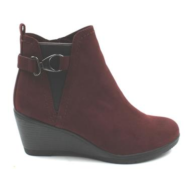 MARCO TOZZI 25042 WEDGE BOOT - BURGUNDY SUEDE