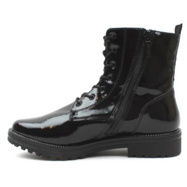 TAMARIS 25209 LACED ANKLE BOOT - BLACK PATENT
