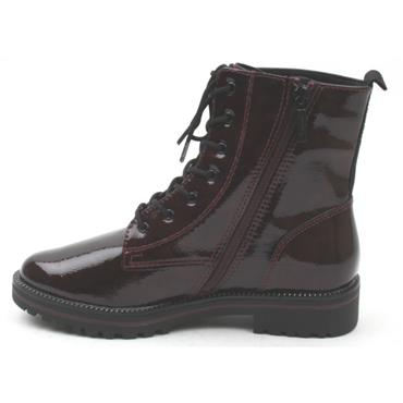 TAMARIS 25209 LACED ANKLE BOOT - BURGUNDY PATENT
