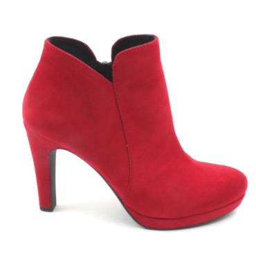 TAMARIS 25316 HIGH HEEL ANKLE BOOT - RED SUEDE