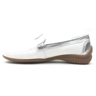 GABOR 26090 LOAFER SHOE - WHITE SILVER