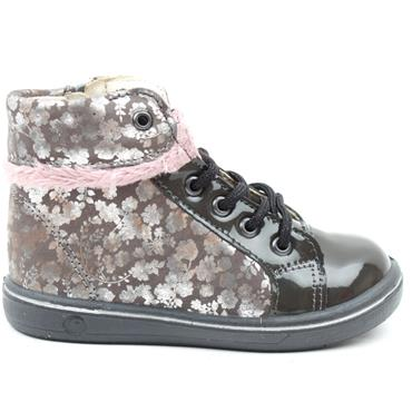 RICOSTA 2624700 LACED BOOT - GREY/PINK