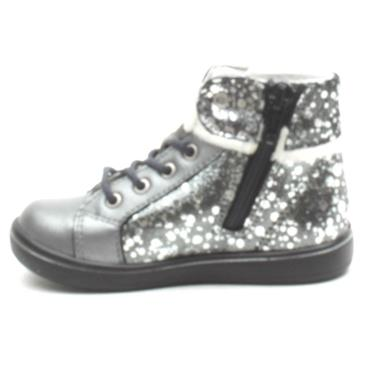 RICOSTA 2624700 LACED BOOT - GREY SPARKLE