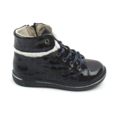 RICOSTA 2624700 LACED BOOT - NAVY PATENT
