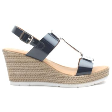 MARCO TOZZI 28355 WEDGE SANDAL - NAVY PATENT