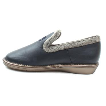 NORDIKA 305LEATHER SLIPPER - NAVY GREY